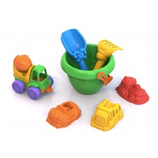 Набор для песка №111 (Нордик, совочек, грабельки, формочки Машинки, ведро)