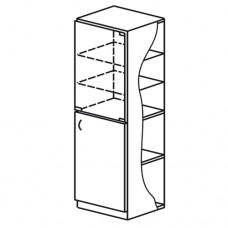 Шкаф общего назначения со стеклом 1 секция (М-102)